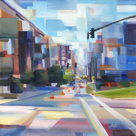 Brooke Brocherding is the newest Northwest artist to be added to the curated collection of print on demand artworks by Studio Art Direct.  Abstract urbanscape titled Downtown.